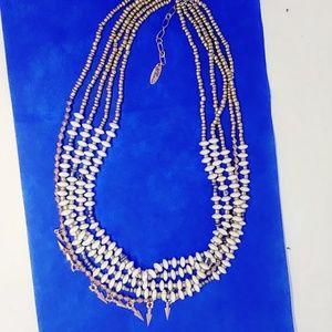 Plunder Necklace  Statement  5 Strand  Gold Ivory